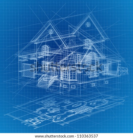Architectural background with a 3d building model vector Blueprint builder free