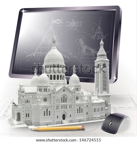 Architectural background with a 3D model of Basilica of the Sacred Heart of Paris and a monitor