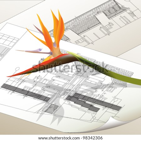 Architectural background with a flower. Vector Clip-art