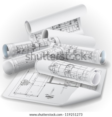 Architectural background with rolls of drawings for your business site. Vector clip-art
