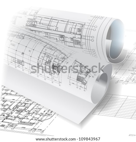 Architectural background with rolls of drawings. Vector clip-art