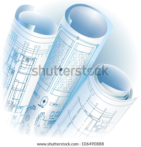 Architectural background with rolls of technical drawings. Vector clip-art