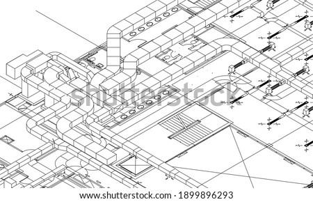 Architectural BIM air duct system design 3d illustration