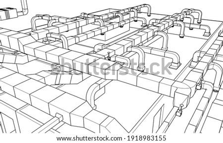 Architectural BIM air ducts design 3d vector illustration