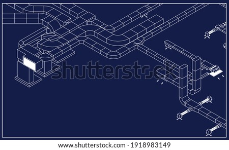 Architectural BIM ducts design 3d illustration blueprint vector