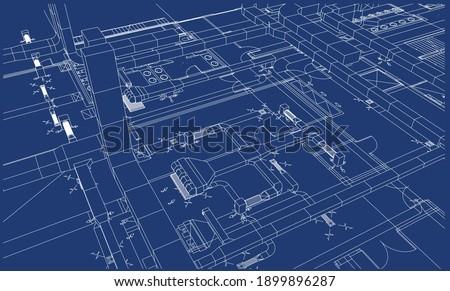 Architectural BIM ventilation design 3d illustration blueprint
