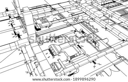 Architectural BIM ventilation system design 3d illustration