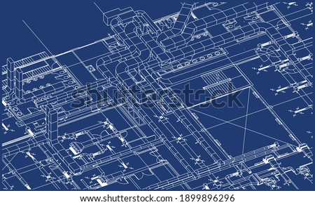 Architectural BIM ventilation system design 3d illustration blueprint