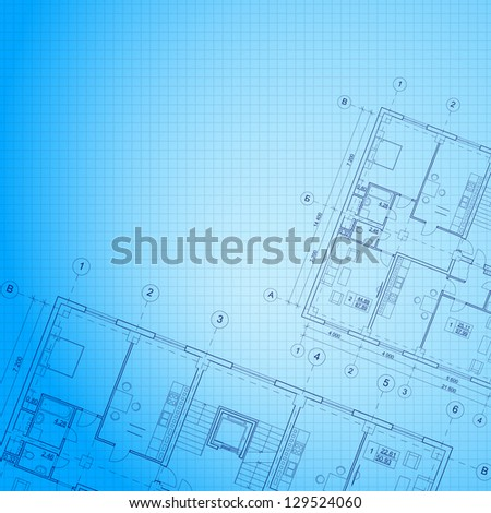 Architectural blue background. Vector illustration, eps10, contains transparencies, gradients and effects.