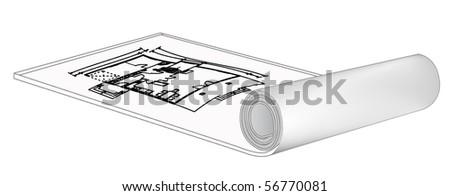 architectural blue print draw on roll background