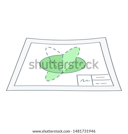 Architectural blueprint, drawing of a geometric figure, technical design, prototyping, product or prototype development plan. Thin line vector illustration, clean design.