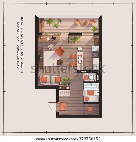 architectural color floor plan