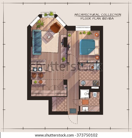 architectural color floor plan