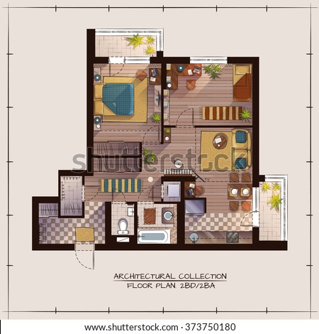 Architectural Color Floor Plan.Two Bedrooms Apartment