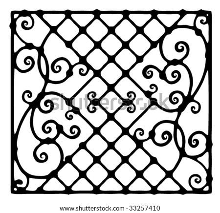 architectural detail for forged fence black and white