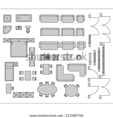 Architecture Plans Furniture Icons Download Free Vector Art