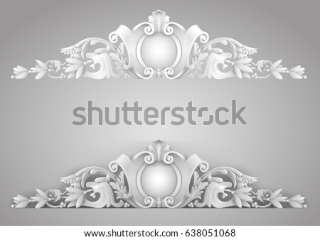 Architectural element sandrik for a building, arches, windows or doors in the Baroque style. Vector graphics. Element of the cover. Classic details.