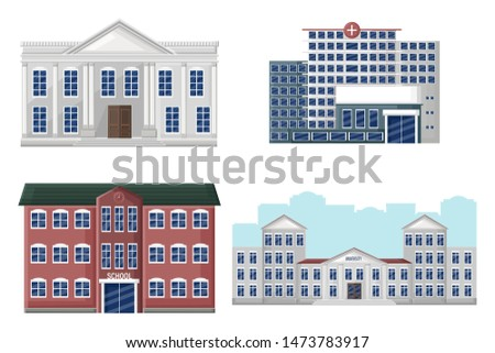 Architectural facades set university, school, hospital and bank Vector flat style. Detailed front view