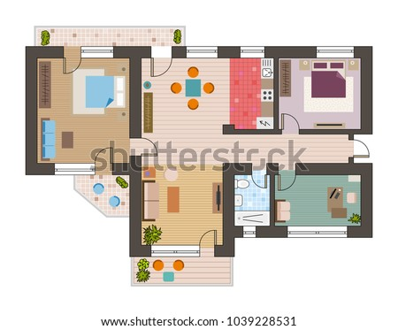 architectural flat plan top