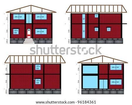 architectural house design, abstract vector art illustration
