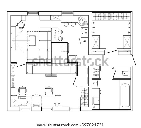 Architecture plans furniture icons download free vector art layout plan of the apartment with furniture in the drawing malvernweather Choice Image