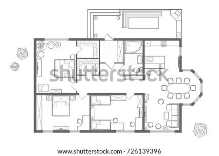 Free Floor Plan Vector - Download Free Vector Art, Stock Graphics ...