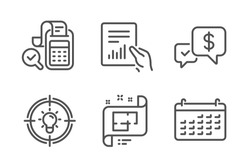 Architectural plan, Payment received and Bill accounting icons simple set. Idea, Document and Calendar signs. Technical project, Money. Education set. Line architectural plan icon. Editable stroke