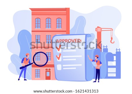 Architectural project approval, safety check. Construction quality control, construction quality management, hire your quality technician concept. Pinkish coral blue vector isolated illustration Сток-фото ©