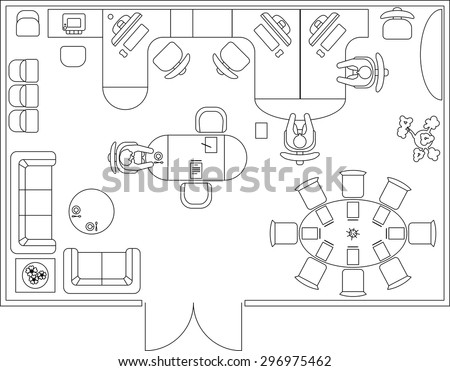 design office floor plan. Interior Design Elements For Floor Plan, Premises. Thin Lines Office Plan