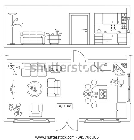 plan rustic office furniture. detail architectural set of furniture objects for building plan section design frontal and top rustic office o