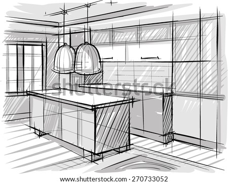 architectural sketch of kitchen