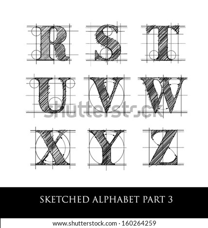 architectural sketched letters