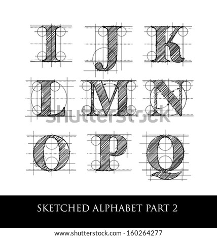 architectural sketched letters set 2 stock vector illustration