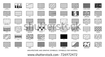 Architectural technical symbols of various types of material. Set of symbols related to various architectural and construction material.