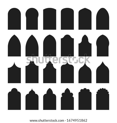 Architectural type of arches shapes and forms. Traditional western and Islamic culture design. Arch, door and window design big collection. Vector silhouette isolated on white background Zdjęcia stock ©