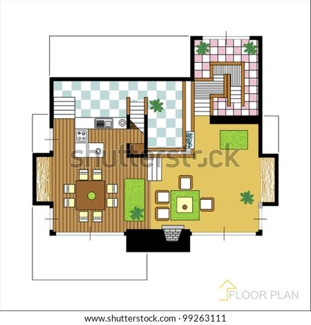 Architectural vector apartment floor plan 99263111 for Apartment stock plans