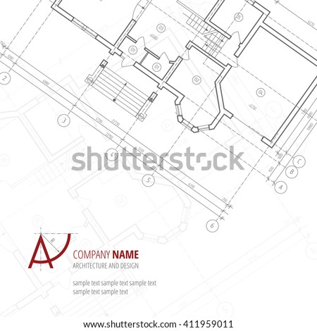 Architectural vector background. Gray building plan silhouette and A-letter logo architecture and design company.