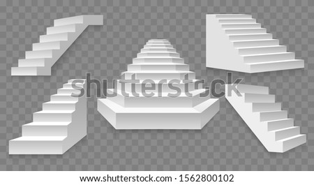 Architectural white staircases. Stairs images isolated on transparent background, abstract modern stairway designs for creative concepts, simple exterior rising ladders with shadow stock photo