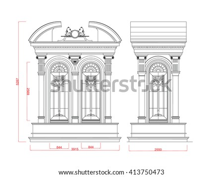 Architectural window vector line work black paint with dimension