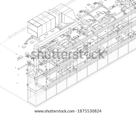 Architectural wireframe BIM design 3d illustration