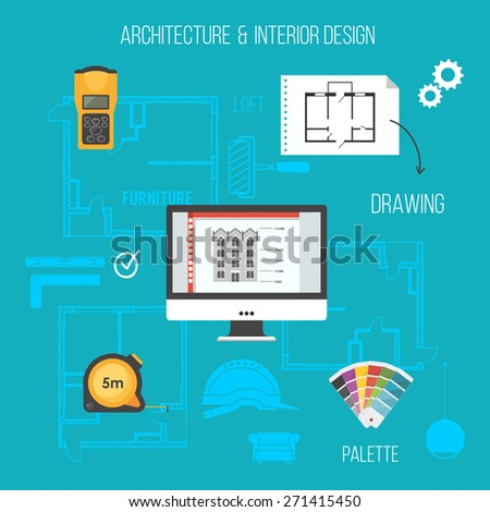 Architecture and interior design concept with construction icons.