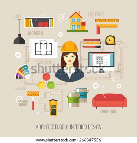 Architecture And Interior Design Concept With Women Architect Icons