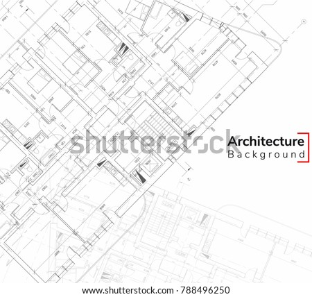 Architecture Background. Detailed plan, construction 3d drawing  Technical Industrial Vector building illustration.Eps 10 Elements of architecture project Detailed plan