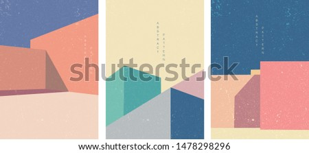 Architecture background poster design vector. Abstract arts pattern with construction template. Geometric elements. Building illustration with colorful square decoration.