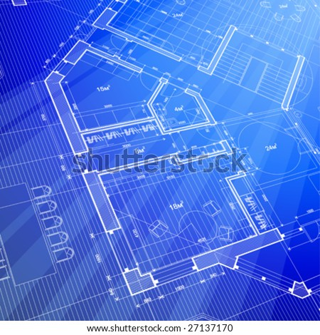 architecture blueprint: abstract house plan - vector background - stock vector
