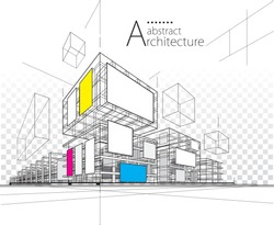 Architecture building construction urban 3D illustration abstract background.