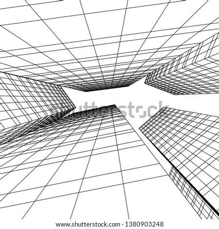 architecture building skyscrapers vector 3d illustration  #1380903248