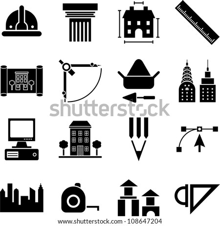 Architecture Construction Buildings And Tools Icons