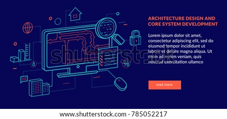 Architecture Design and Core System Development Concept for web page, banner, presentation. Vector illustration