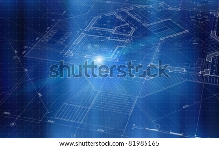 Architecture design: blueprint house plan & blue technology background - vector illustration. Eps 10